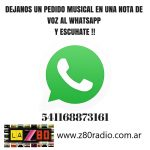 Dejanos tu mensaje musical en una nota de voz al whtasapp 1168873161